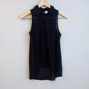 H&M Black Sheer Sleeveless Button Down Tunic